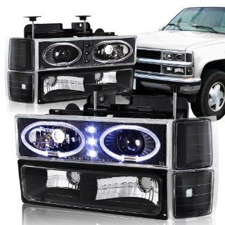 94 98 Chevy Trucks, 95 99 Chevy Tahoe Black Housing Halo Projector Headlight, Bumper Light, and Corner Light 8PC Combo Automotive