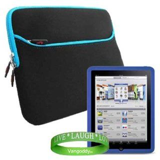 iPad Carrying Case Scratch Resistant Neoprene Sleeve with Attached Pocket to Contain ipad Accessories for Apple ipad Tablet wifi + 3G model ( iPad 16gb , iPad 32gb , iPad 64gb flash drive) ** BLACK   BLUE ** + ** BLUE ** iPad Silicone Skin + Vangoddy Live
