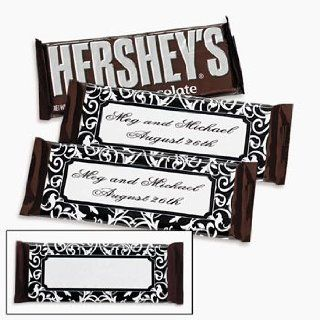 Personalized Black & White Candy Bar Wrappers   Stickers & Labels & Candy Wrappers & Labels  Grocery & Gourmet Food
