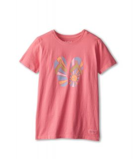 Life is good Kids Sunshine Flip Flops Crusher Tee Girls T Shirt (Pink)