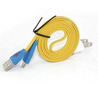 Ayangyang Yellow Color Flat Micro Date Cable + White Us Wall Charger Us USB Wall Charger Power Plug + Micro USB Date Cable Sync for Samsung Galaxy S3 I9300 Computers & Accessories