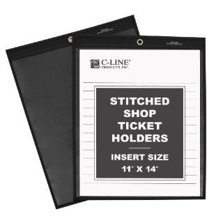 C Line Stitched Shop Ticket Holders with Black Pressboard Back, One Side Clear, 11 x 14 Inches, 25 per Box (45114)