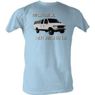 The Office Shirt ~ You Can't Fire Me, I Don't Work In This Van ~ 100% Cotton ~ Men's T Shirt (XLarge, Light Blue) Clothing