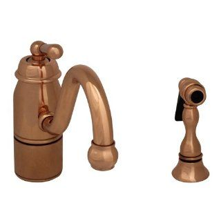 "Whitehaus 33165SPRLCO 9"" Beluga single handle faucet with traditional curved swivel spout, lever handle and solid brass side spray Polished Copper   Single Handle Shower Only Faucets"