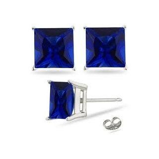 2.00 Carat Princess Sapphire Blue Cubic Zirconia Cz Stud Earrings. Sterling Silver 925 Tarnish Free & Nickel Free Top Quality Rhodium Finish Jewelry