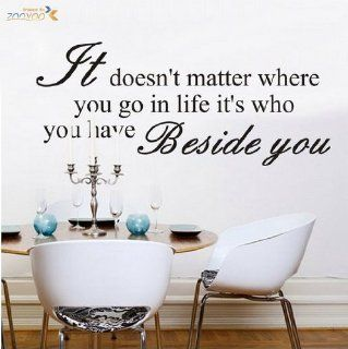 Toprate(TM) IT DOESN'T MATTER WHERE YOU GO Quote PVC Wall Sticker Decal Removable Room Decor