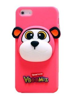 HJX Hot Pink Pippi iphone 5 Stylish Cute 3D Boom Monkey Animal Silicone Soft Shell Case Protective Cover for Apple iphone 5 5G 5th Cell Phones & Accessories