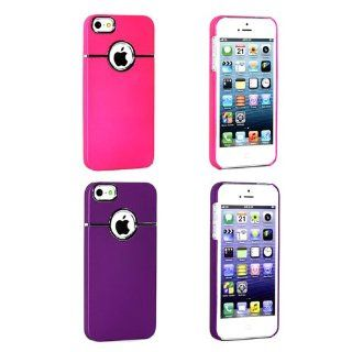 BlueMart � 2pcs Deluxe Hard Case Cover for Apple iPhone 5 Plus BlueMart Cable Tie (Hot Pink & Purple) Cell Phones & Accessories