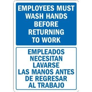 "SmartSign Adhesive Vinyl Label, Legend ""Employees Wash Hands Before Returning to Work"", Bilingual Sign, 14"" high x 10"" wide, Blue on White Industrial Warning Signs"