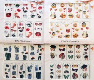Variety Pack Nail Art Water Slide Tattoo DecalsDenim / Masquerade Mask /Smiley Face / Heels / Lips etc   4 pack Beauty
