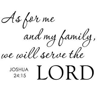 As for Me And My Family We Will Serve the Lord   Inspirational Home Religious God Bible Vinyl Quote Art Wall Decal Sticker Decor (White, Small)   Wall Docor Stickers