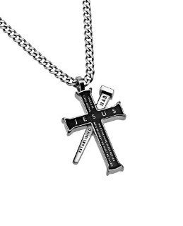 "Christian Mens Black Stainless Steel Abstinence ""Jesus   There Is No Other Name Under Heaven Given Among Men Whereby We Must Be Saved"" Nail reads ""Established 33 A.D."", and back reads ""Acts 412"". Iron Cross Purity Necklace fo"