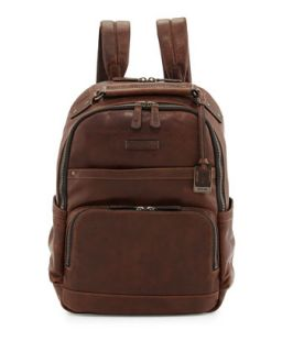 Logan Mens Leather Backpack, Dark Brown   Frye