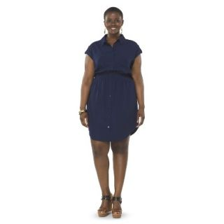 Pure Energy Womens Plus Size Utility Shirt Dress   Navy 1X