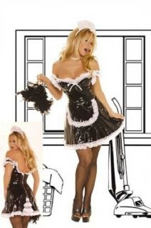 Vinyl French Maid Costume Includes An Off The Shoulder Mini Dress with Lace Trim Dress Has a Black Zipper Closure and Lace Insert Apron and Headpiece Are Included Size Queen Plus 1X2X in Black Adult Exotic Costumes Clothing