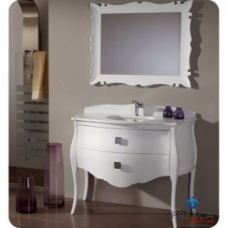 Fresca Platinum Paris 45 Glossy White Bathroom Vanity with Swarovski Handles