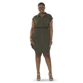 Pure Energy Womens Plus Size Utility Shirt Dress   Green 1X