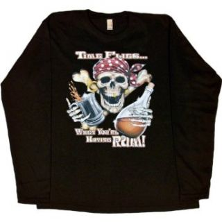WOMENS LONG SLEEVE T SHIRT  BLACK   SMALL   Time Flies When You're Having Rum   Funny Pirate Skull Party Drinking Clothing