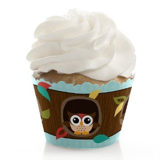 Baby Shower Cupcake Wrappers   Owl   Look Whooo's Having A Baby Toys & Games