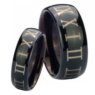 His and Hers 2pcs Tungsten Roman Numeral Shiny Black Dome Ring Set Size 4, 7 Jewelry