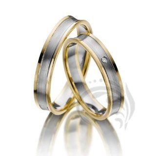 Unique 14k Yellow White Yellow Gold His and Hers Matching Wedding rings 01 ct 4 mm Jewelry