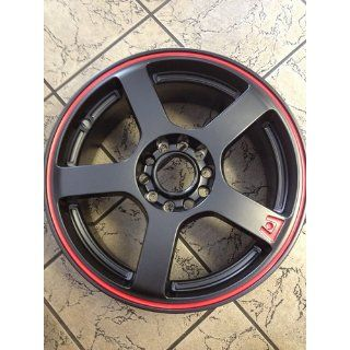 "Motegi Racing MR116 Matte Black Finish Wheel with Red Accents (16x7""/4x100mm) Automotive"