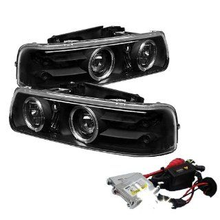High Performance Xenon HID Chevy Silverado 1500/2500 / Chevy Silverado 3500 / Chevy Suburban 1500/2500 / Chevy Tahoe Halo LED ( Replaceable LEDs ) Projector Headlights with Premium Ballast   Black with 4300K OEM White HID Automotive