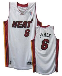 LeBron James Miami Heat #6 Revolution 30 Authentic Adidas NBA Basketball Jersey (Home White)  Sports Fan Jerseys  Sports & Outdoors