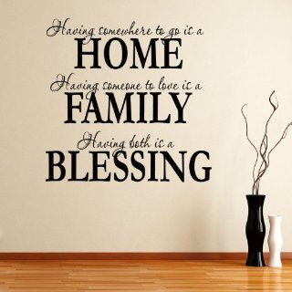 Having Somewhee to Go Is a Home Family Blessing Wall Decal Quote Sticker Living Room Decor Wide 60cm High 60cm Black Color   Nursery Wall Decor