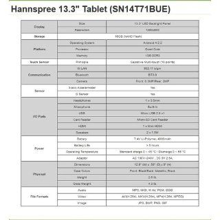 HANNSPREE 13.3 INCH QUAD CORE TABLET PC T7 SERIES WITH 1280X800 10 POINTS TOUCH 16GB MEMORY AND ANDROID JELLY BEAN  Tablet Computers  Computers & Accessories