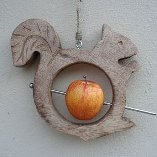 wooden squirrel bird feeder by hunter gatherer