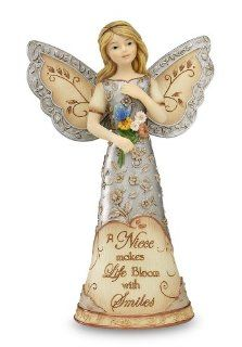 Elements Niece Angel Figurine by Pavilion, 5 1/2 Inch, Holding Bouquet with Butterfly, Inscription a Niece Makes Life Bloom with Smiles   Collectible Figurines