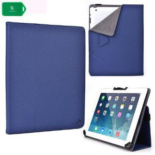 "UNIVERSAL FOLIO STYLE TABLET COVER CASE WITH STAND AND CAMERA HOLE FEATURE  NAVY BLUE  FITS Digital2   D2 962G 9"" Dual Core Android Tablet  Beauty"