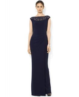 Lauren Ralph Lauren Cap Sleeve Laser Cut Beaded Gown   Dresses   Women