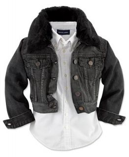 Ralph Lauren Kids Jacket, Little Girls Faux Fur Trim Trucker Jean Jacket   Kids
