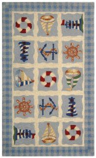Safavieh Chelsea Collection HK239A 2 Hand hooked Wool Area Rug, 1 Feet 8 Inch by 2 Feet 6 Inch, Blue   Nautical Rugs