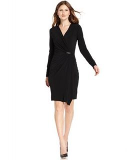 MICHAEL Michael Kors Long Sleeve Hardware Faux Wrap Dress   Dresses   Women