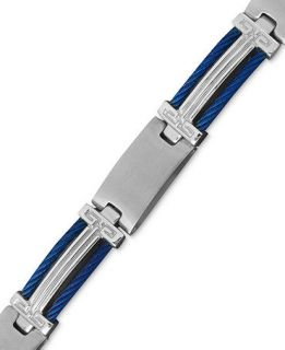 Mens Stainless Steel and Blue Ion Plated Stainless Steel Bracelet, Cable Bracelet   Bracelets   Jewelry & Watches