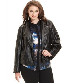 DKNY Jeans Plus Size Faux Leather Moto Jacket   Jackets & Blazers   Plus Sizes