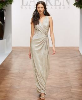 Lauren Ralph Lauren Sleeveless Metallic Gown   Dresses   Women