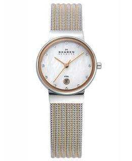 Skagen Denmark Watch, Womens Two Tone Stainless Steel Mesh Bracelet 26mm 355SSRS   Watches   Jewelry & Watches