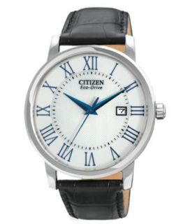 Citizen Mens Eco Drive Black Leather Strap Watch 42mm AO9000 06B   Watches   Jewelry & Watches