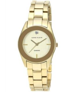 Anne Klein Watch, Womens Diamond Accent Gold Tone Stainless Steel Mesh Bracelet 32mm AK 1426CHGB   Watches   Jewelry & Watches