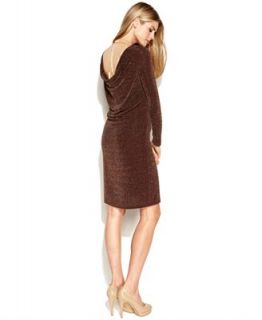 MICHAEL Michael Kors Long Sleeve Sparkle Chain Cowl Back Dress   Dresses   Women