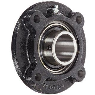 "Link Belt FC3U228N Flange Unit, 4 Bolt Holes, Standard Duty, Relubricatable, Non Expansion, Cast Iron, Spring Locking Collar, Inch, 1 3/4"" Bore Diameter Flange Block Bearings"