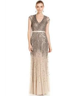 Adrianna Papell Petite Cap Sleeve Beaded Gown   Dresses   Women
