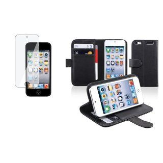 CommonByte Black Leather Wallet Case w/ Card Holder+Clear Protector For iPod Touch 5 5G 5th   Players & Accessories
