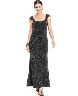 Alex Evenings Dress, Cap Sleeve Metallic Knit Cutout Gown   Dresses   Women