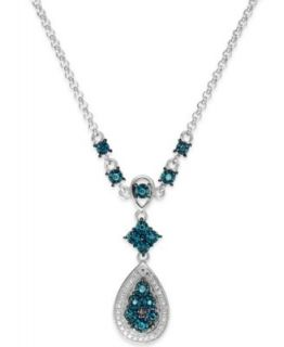 CRISLU Necklace, Platinum Over Sterling Silver Blue and Clear Cubic Zirconia Drop Necklace (50 1/2 ct. t.w.)   Fashion Jewelry   Jewelry & Watches