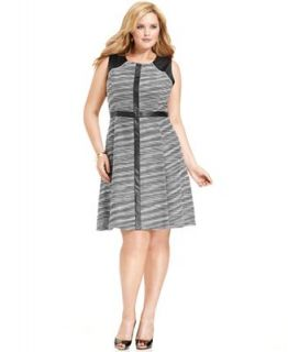 Calvin Klein Plus Size Dress, Sleeveless Printed Faux Leather A Line   Dresses   Plus Sizes